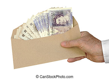 Bribery and corruption - isolated - Mans hand offer cash UK...