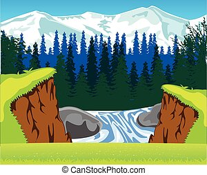 Waterfall in wood - The Beautiful waterfall and year glade...