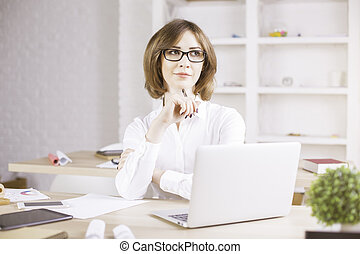 Attractive thoughtful businesswoman portrait - Attractive...