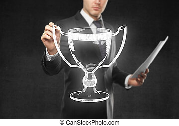 Businessman holding winner's cup sketch - Businessman with...