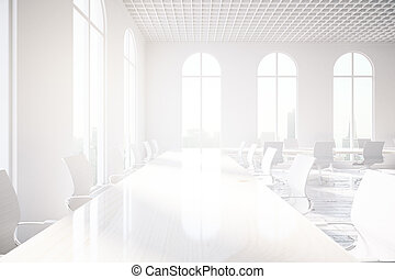 Bright conference room sideview - Side view of bright...