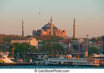 Hagia Sophia - Istanbul - Istanbul panorama with St. Sofia...