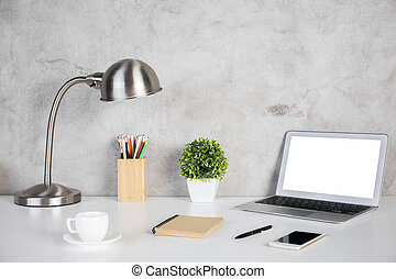 Designer workspace - Creative designer desktop with blank...