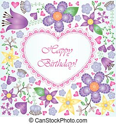 Birthday card with gradient flowers