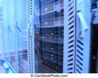 Servers in the data centre in blue