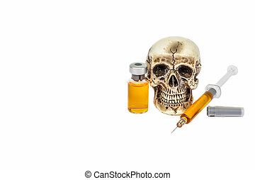 Skull and syringe - Skull and drug syringe with copy space
