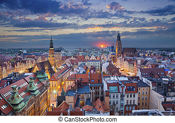 Wroclaw. - Image of Wroclaw, Poland during twilight blue...