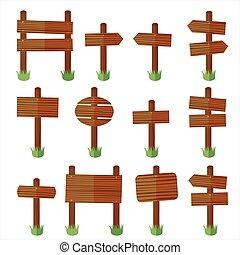 Set wood sign vector