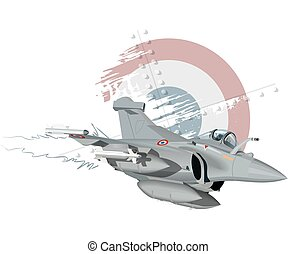 Cartoon Military Airplane - Vector Cartoon Fighter Plane....