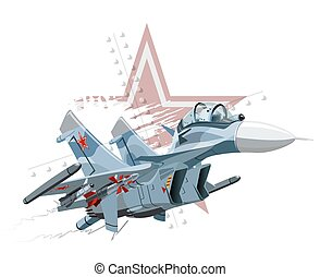 Cartoon Military Airplane - Vector Cartoon Fighter Plane...
