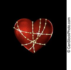 locked solid heart - dark background and the big red...