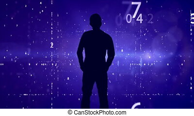 """Silhouette on falling digits background"""