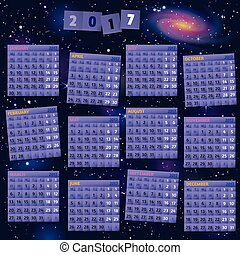 2017 Year Calendar on cosmic background. - Smartly grouped...