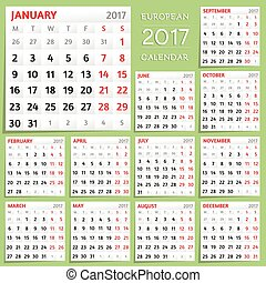 2017 Calendar Design. Week starts from Monday. - Month...