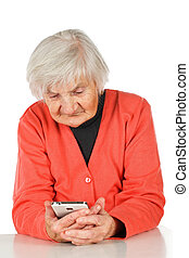 Browsing mobile internet - Senior woman using her new white...