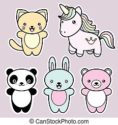 Set collection of cute kawaii style happy smiling animals....