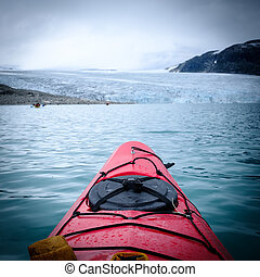 Beautiful view from a kayak on Jostedalsbreen glacier Norway...