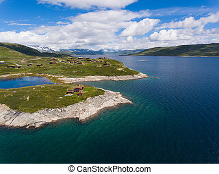 Amazing aerial view of scenic Norway islands. - Amazing...