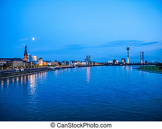 Duesseldorf HDR - High dynamic range HDR View of the town of...