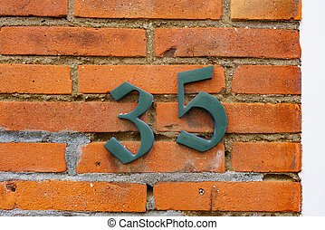 Number 35 - House number thirty five 35