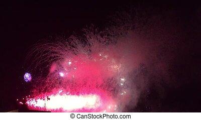 Aerial fireworks display in summertime