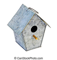 Birdhouse - Metal bird house with clipping path included