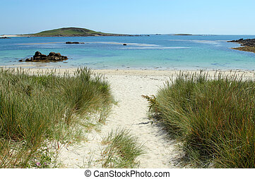 Path to Rushy Bay beach in Bryher, Isles of Scilly Cornwall...