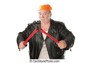 Man with bolt cutter - Fat hoodlum holding open large bolt...