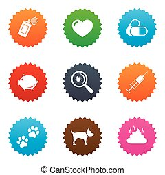 Veterinary, pets icons Dog paws, syringe signs - Veterinary,...