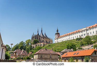 Saint Barbara Cathedral and Jesuit college with a small...