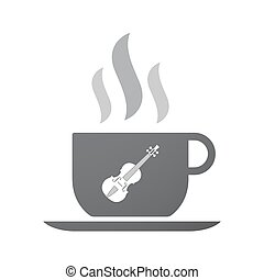 Isolated coffee cup icon with  a violin