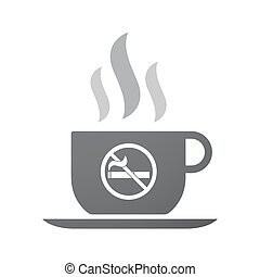 Isolated coffee cup icon with  a no smoking sign