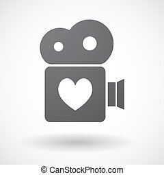 Isolated retro cinema camera icon with the heart poker...