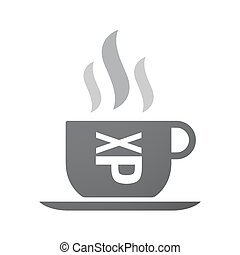 Isolated coffee cup icon with  a Tongue sticking text face emoticon