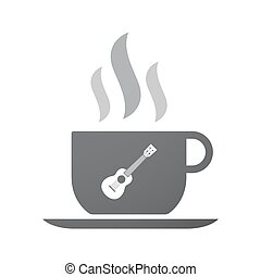 Isolated coffee cup icon with  an ukulele