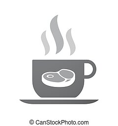 Isolated coffee cup icon with a steak icon - Illustration of...