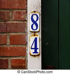 Number 84 - house number eighty four 84