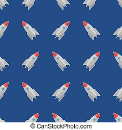 Space Rocket Flying on Blue Sky Seamless Pattern