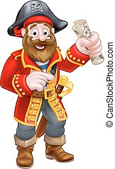 Cartoon Pirate Captain - Pirate cartoon character captain...