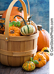 Variety of colorful decorative pumpkins in a basket -...