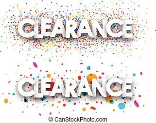 Clearance paper banners - White clearance paper banners with...