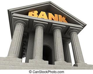 bank facade - 3d illustration of bank building facade over...