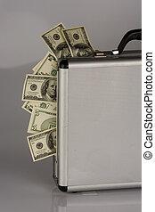 dólar, cuentas, dinero, maleta