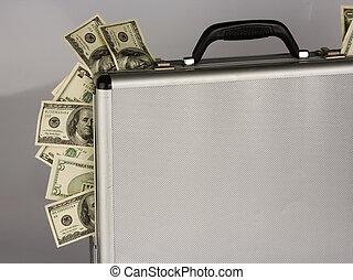 dinero, cuentas, dólar, maleta