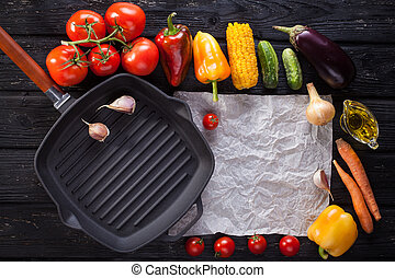 grilled vegetables on a grill pan. horizontal top view -...
