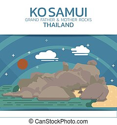 Ko Samui Rocks Poster Brochure Flyer design Layout vector...