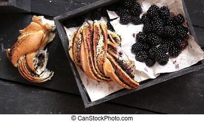 Fresh blackberries and Rustic bread, breakfast or lunch...