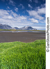Summer landscape with green grass and mountains in Iceland -...