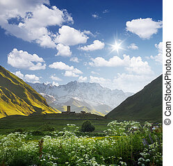 Summer landscape with church in Ushguli, Georgia - Mountain...
