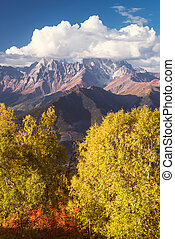 Autumn Landscape with a view of the top of the mountain